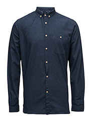 Melange Effect Flannel Shirt - GOTS - ESTATE BLUE