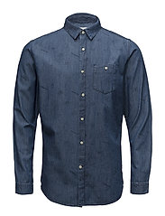 Denim shirt with concept print - GO - DEEP SEA