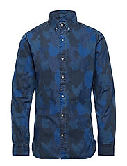 Camouflage owl printed denim chambr - WASHED BLUE DENIM