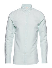 Cotton linen long sleeved shirt - G - DUSTY JADE GREEN