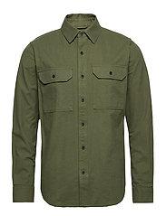Long sleeve moleskin shirt - GOTS/V - GREEN FOREST