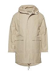 Long twill hood jacket - GOTS/Vegan - LIGHT FEATHER GRAY