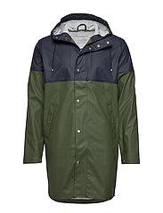 Long rain jacket /Vegan - BLACK FORREST MELANGE