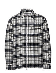Quilted checked fannel overshirt - - DARK GREY MELANGE