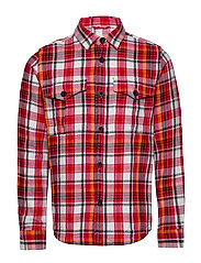PINE LS checked overshirt - GOTS/Ve - SCARLET