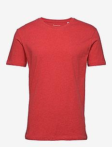 ALDER basic tee - GOTS/Vegan - short-sleeved t-shirts - scarlet melange