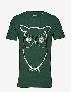 Single Jersey With Owl Print - GOTS - BLACK FORREST MELANGE