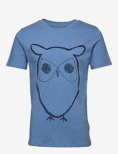 ALDER big owl tee - GOTS/Vegan - logo t-shirts - light blue melange