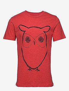 ALDER big owl tee - GOTS/Vegan - logo t-shirts - scarlet melange