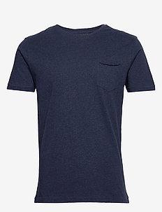 ALDER basic chest pocket tee - GOTS - À manches courtes - insigna blue melange