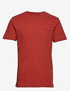ALDER basic chest pocket tee - GOTS - À manches courtes - scarlet melange
