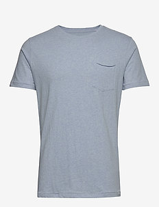 ALDER basic chest pocket tee - GOTS - kortermede t-skjorter - sky way melange