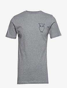 T-shirt with owl chest logo - GOTS - GREY MELANGE