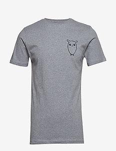 T-shirt with owl chest logo - GOTS - GREY MELANGE