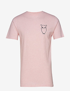T-shirt with owl chest logo - GOTS - PINK MELANGE