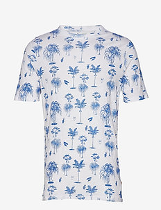 T-shirt with palm print - GOTS - lyhythihaiset - olympia blue
