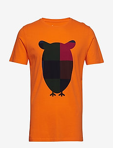T-shirt with big owl print - GOTS/V - kortermede t-skjorter - persimmon orange