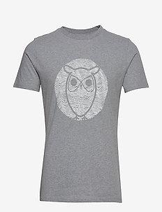 ALDER wave owl tee - GOTS/Vegan - printed t-shirts - grey melange
