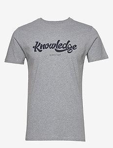 ALDER big knowledge tee - GOTS/Vega - logo t-shirts - grey melange