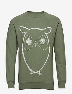 Sweat Shirt With Owl Print - GOTS/V - GREN MELANGE