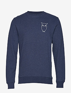 Sweat with owl chest logo - GOTS - INSIGNA BLUE MELANGE