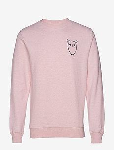 Sweat with owl chest logo - GOTS - PINK MELANGE