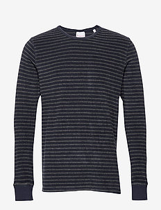 Striped velvet sweat - Vegan - pulls col rond - dark grey melange