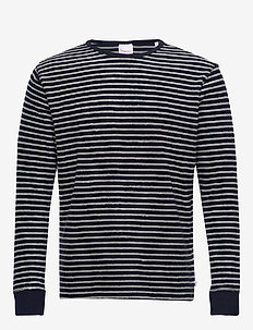 Striped velvet sweat - Vegan - pulls col rond - total eclipse