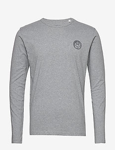 LOCUST owl badge long sleeve - GOTS - basis-t-skjorter - grey melange