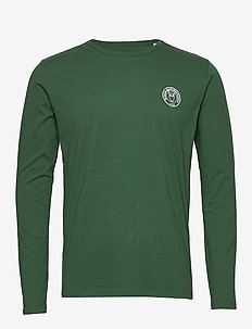 LOCUST owl badge long sleeve - GOTS - basis-t-skjorter - pineneedle