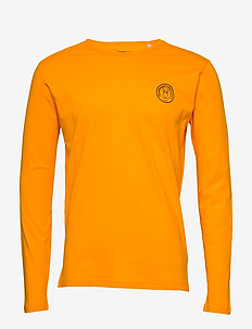 LOCUST owl badge long sleeve - GOTS - basis-t-skjorter - zennia yellow