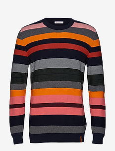 Striped o-neck knit - GOTS - rund hals - total eclipse