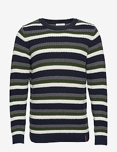 Striped rib o-neck - GOTS/Vegan - pulls col rond - total eclipse