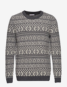 VALLEY color jacquard knit - GOTS - pulls col rond - dark grey melange