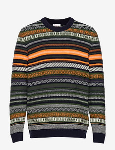 Multi colored jacquard o-neck knit - knitted round necks - total eclipse
