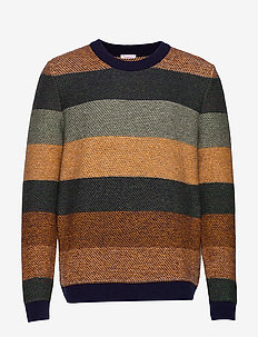 Multi colored striped o-neck knit - - pulls col rond - green forest