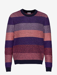 Multi colored striped o-neck knit - - knitted round necks - total eclipse