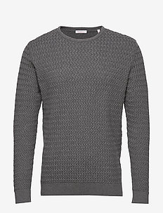 FIELD o-neck structured knit - GOTS - basic knitwear - dark grey melange