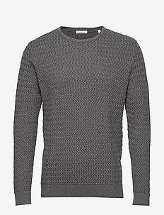 FIELD o-neck structured knit - GOTS - perusneuleet - dark grey melange