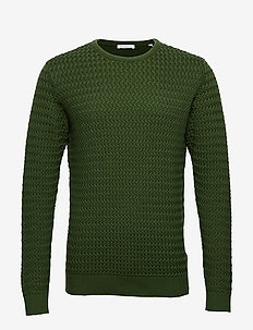 FIELD o-neck structured knit - GOTS - basic knitwear - green forest