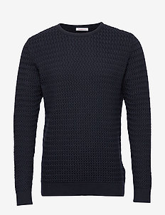 FIELD o-neck structured knit - GOTS - basic knitwear - total eclipse