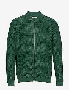 FIELD zip cardigan knit - GOTS/Vega - cardigans - pineneedle