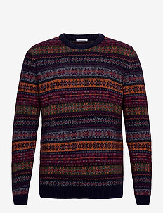 VALLEY multi color jacquard knit - - pulls col rond - total eclipse