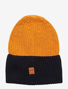 Two colored hat - GOTS - luer - persimmon orange