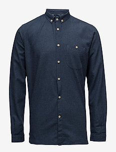 Melange Effect Flannel Shirt - GOTS - basic shirts - estate blue