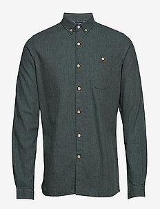 Melange Effect Flannel Shirt - GOTS - basic skjorter - green forest
