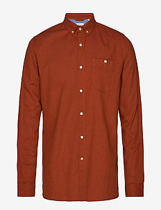 Melange Effect Flannel Shirt - GOTS - basic shirts - persimmon orange