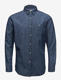 Denim shirt with concept print - GO - jeansskjorter - deep sea