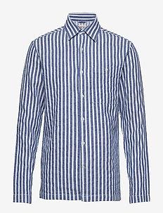 Short striped shirt - GOTS/Vegan - chemises business - olympia blue