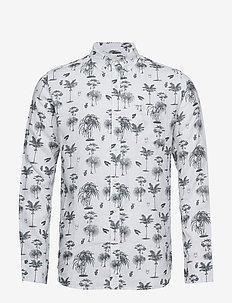 Shirt with palm print - chemises de lin - forrest night